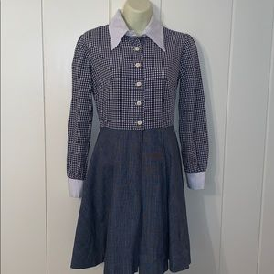 Vtg 70s blue & white checked dress